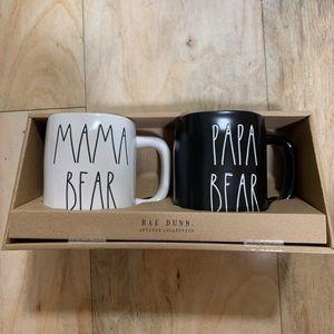 Rae Dunn Mama Bear Papa Bear mug set